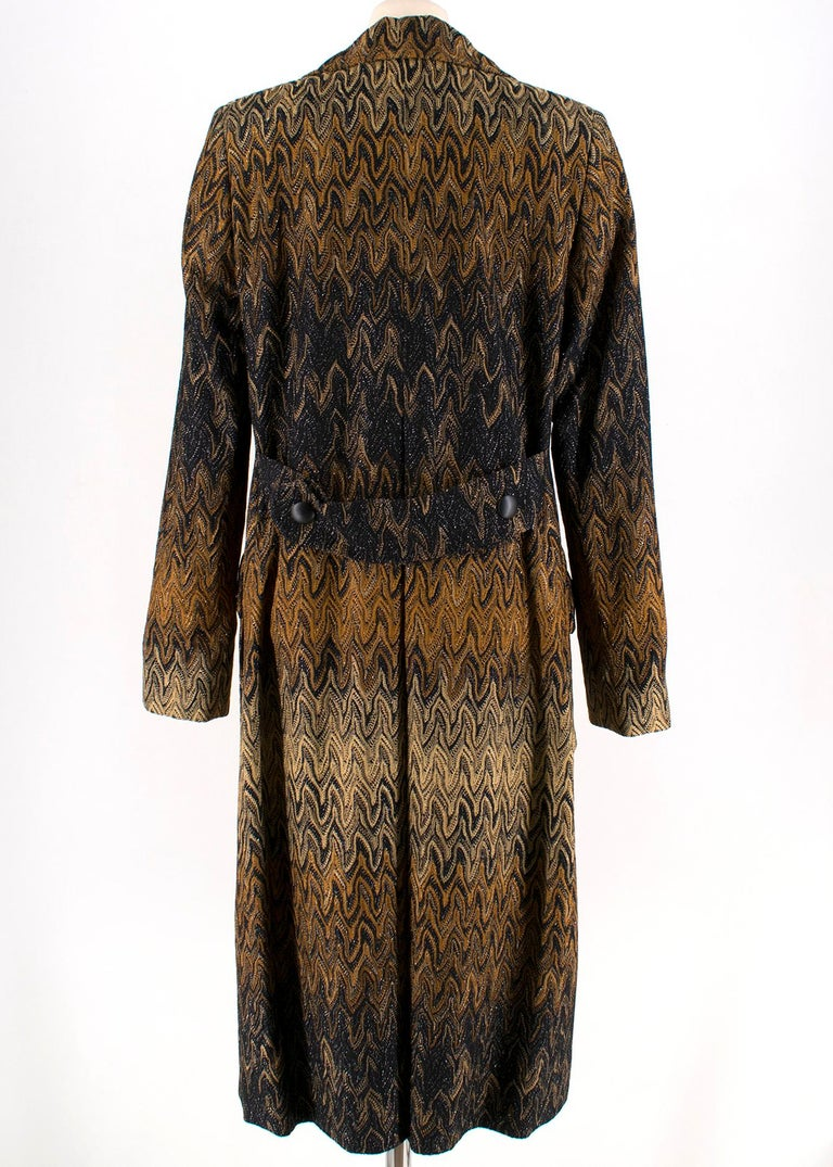 Black Missoni Wavy Knit Gold Long Coat 44 For Sale