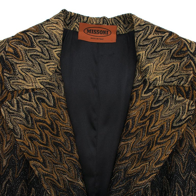 Missoni Wavy Knit Gold Long Coat 44 In Excellent Condition For Sale In London, GB