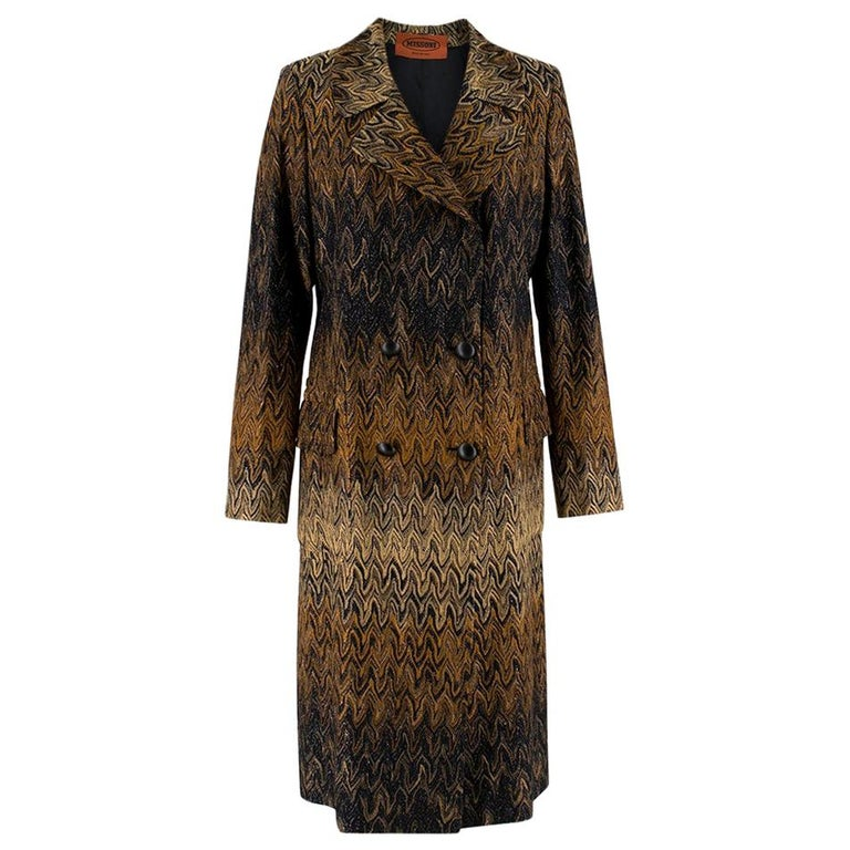 Missoni Wavy Knit Gold Long Coat 44 For Sale