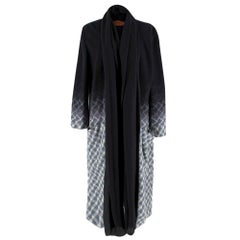 Missoni Wool Black & Grey Ombre Shawl Lapel Coat 46 IT