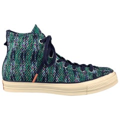 MISSONI X CONVERSE Chuck Taylor Size 9.5 Navy & Green Print High Top Sneakers