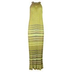 Missoni Yellow Chevron Maxi Dress Sz 40
