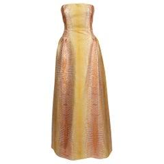Missoni Yellow & Copper Metallic Strapless Jacquard Gown
