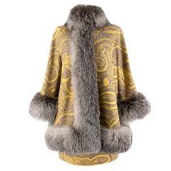 Missoni Yellow Jacquard Wool & Fox Fur Trim Coat & Mini Skirt42 (IT)