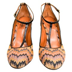 Missoni Zig Zag Fabric High Heel Rounded Toe Pumps With T-Straps