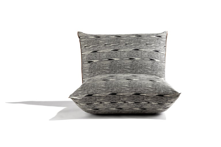 Modern MissoniHome Armless Lounge Chair in Black and White Pattern For Sale
