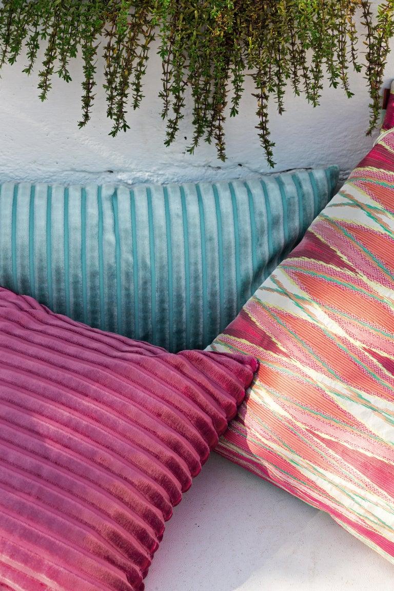 Italian MissoniHome Coomba Cotton Cushion in Textured Blue Stripe Pattern For Sale