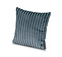 Missoni Home Coomba Cotton Cushion in Textured Blue Stripe Pattern