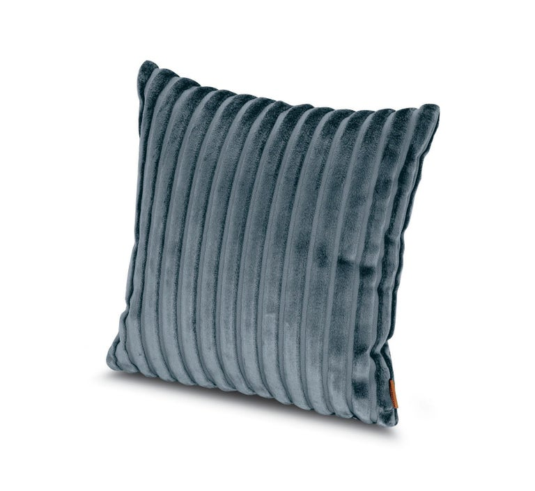 MissoniHome Coomba Cotton Cushion in Textured Blue Stripe Pattern For Sale