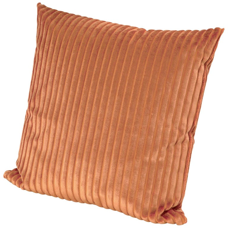MissoniHome Coomba Cushion in Textured Orange Stripes For Sale