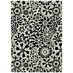 Missoni Home Fleury Wool Rug in Black & White Floral Print
