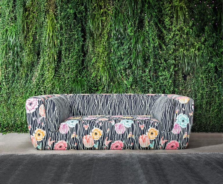 Italian MissoniHome Inntil Two-Seat Sofa in Varbania & Valmadera Floral Patterns For Sale