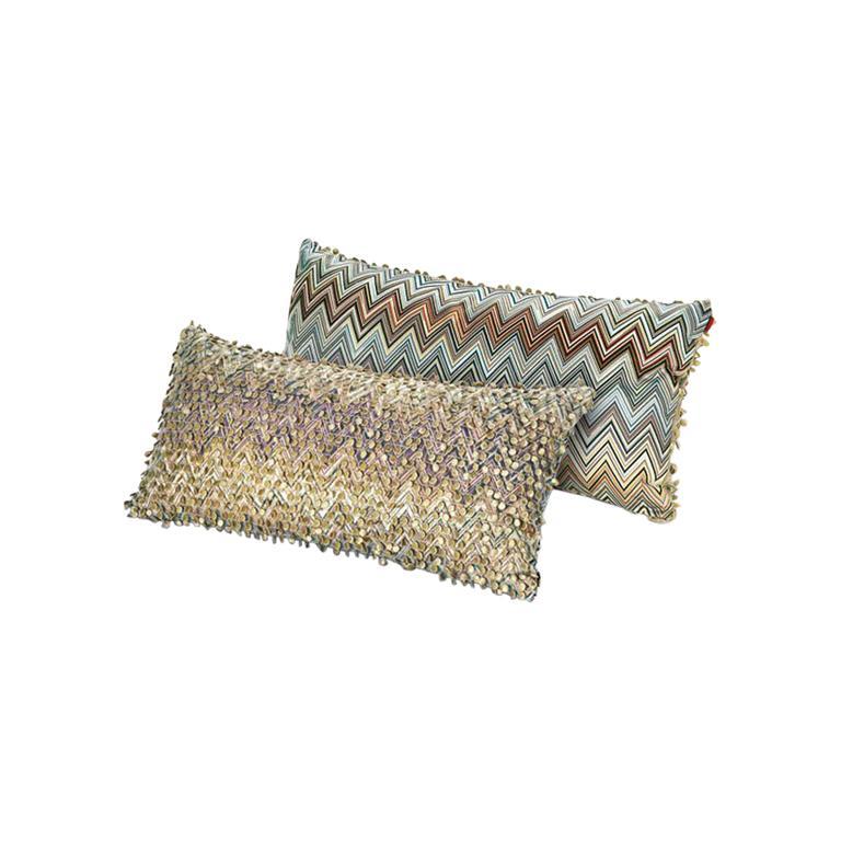 MissoniHome Jarris & Jamilena Cushion Set in Multi-Color and Beige Patterns For Sale