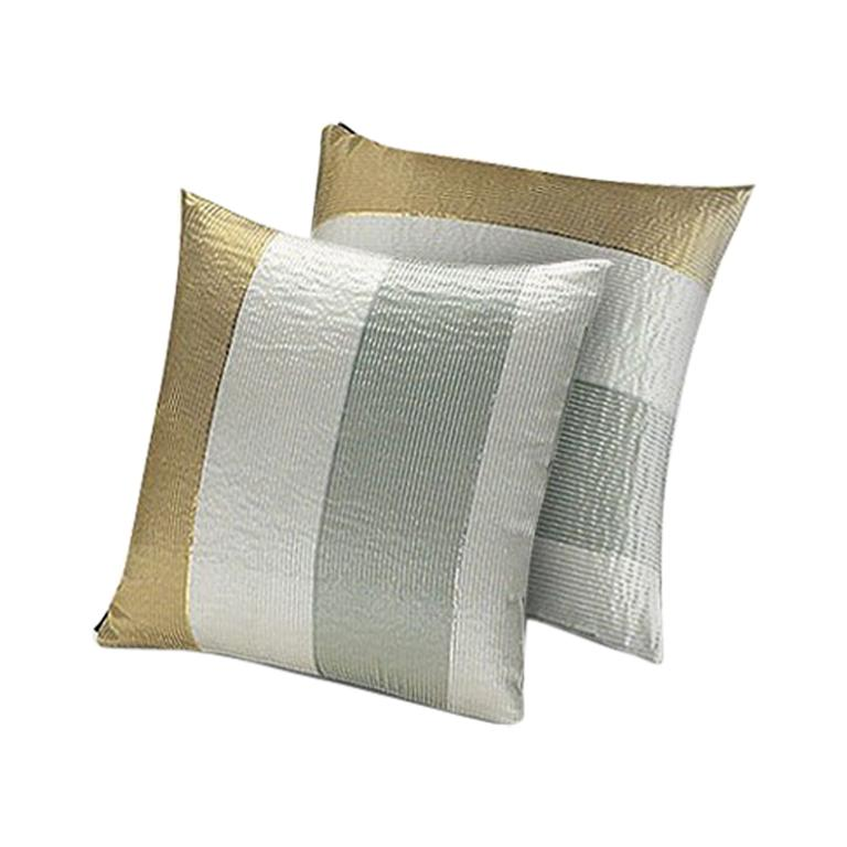 MissoniHome Kaduna Cushion Set in Multi-Color and Gold with Textured Stripes For Sale
