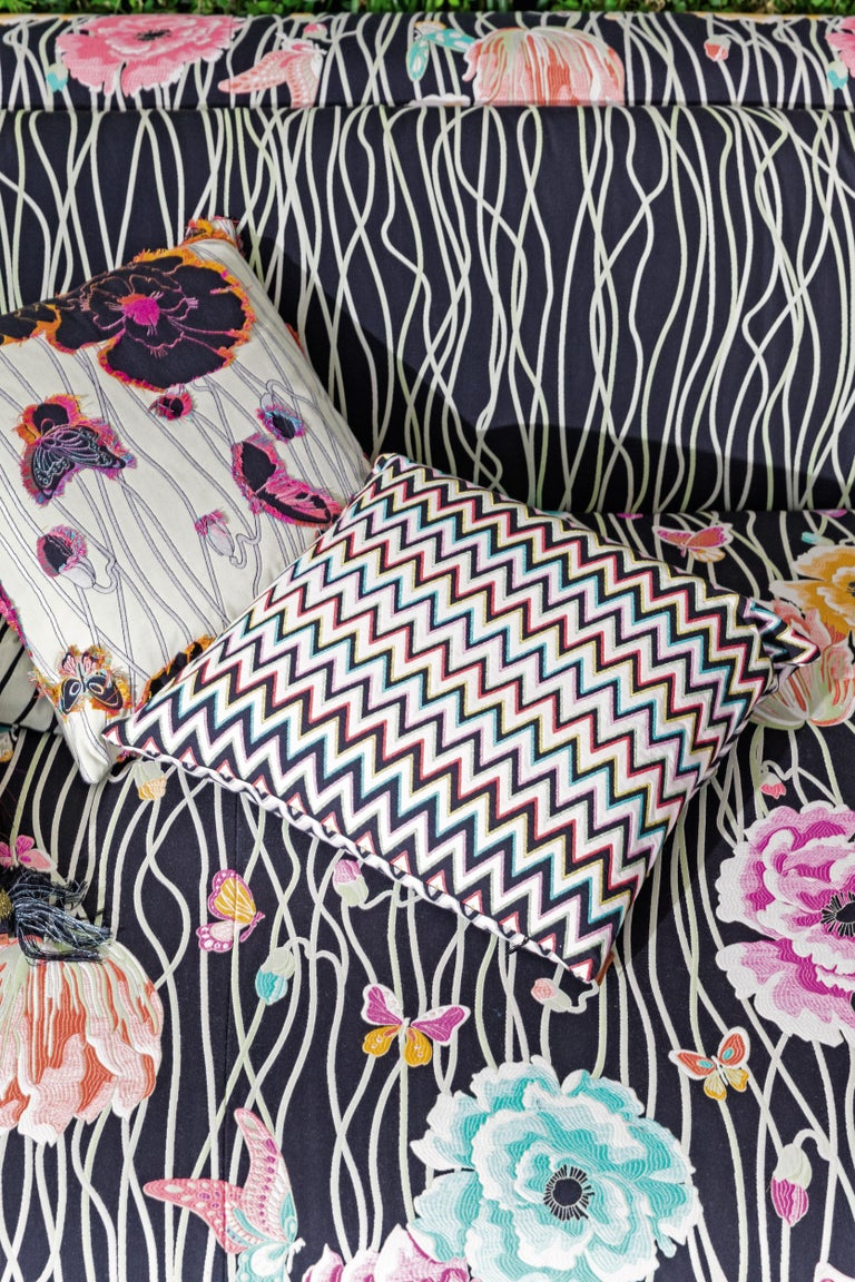 Modern MissoniHome Khal Cushion Set in Metallic Silver with Floral Print For Sale