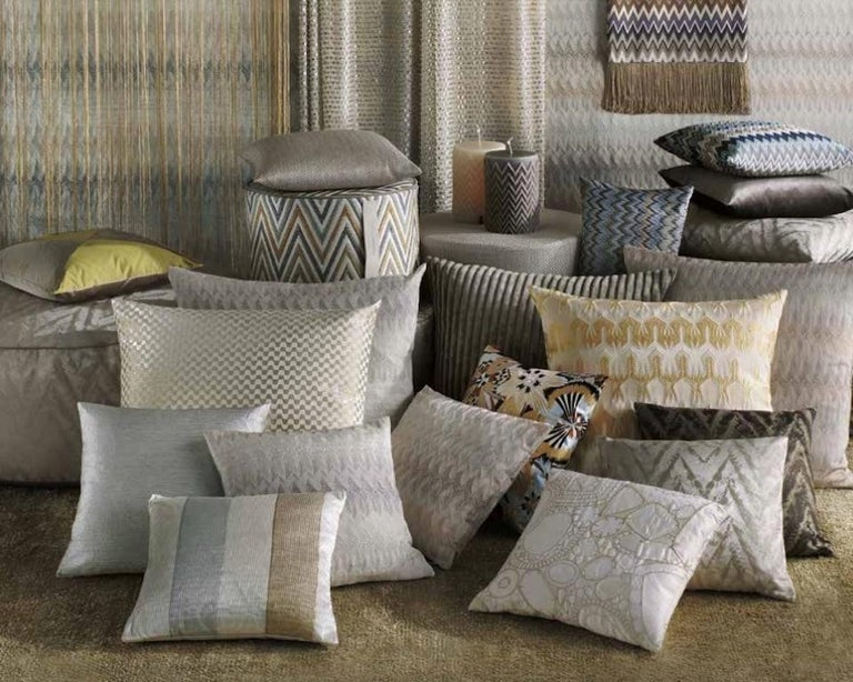 Italian MissoniHome Khal Cushion Set in Metallic Silver with Floral Print For Sale