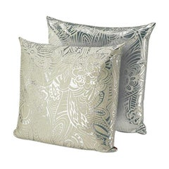 MissoniHome Khal Cushion Set in Metallic Silver with Floral Print