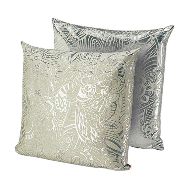 MissoniHome Khal Cushion Set in Metallic Silver with Floral Print For Sale