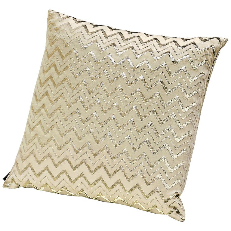 MissoniHome Leeka Cushion in Gold Chevron Pattern For Sale