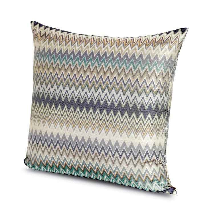Modern MissoniHome Masuleh Cushion in Multicolor and Blue Chevron Print For Sale