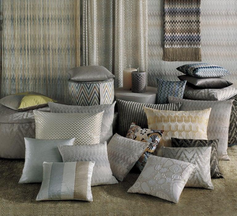 Italian MissoniHome Masuleh Cushion in Multicolor and Blue Chevron Print For Sale