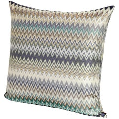 Missoni Home Masuleh Cushion in Multicolor and Blue Chevron Print
