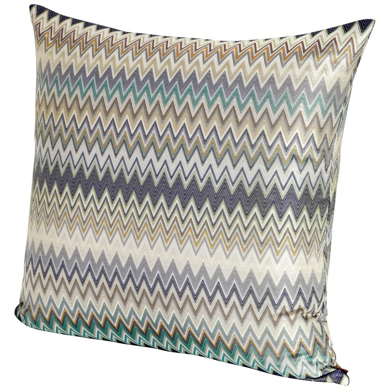 MissoniHome Masuleh Cushion in Multicolor and Blue Chevron Print For Sale