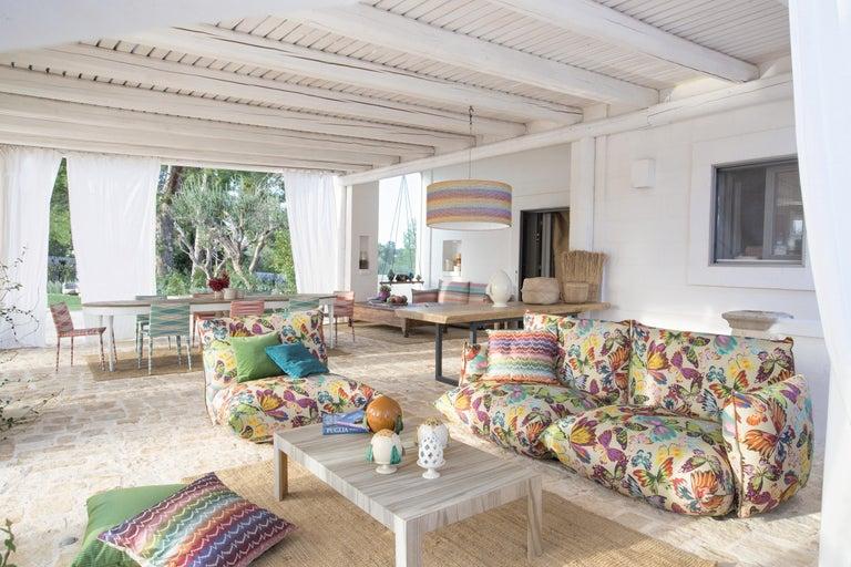 Italian MissoniHome Masuleh PW Cushion in Multicolor Chevron Print For Sale