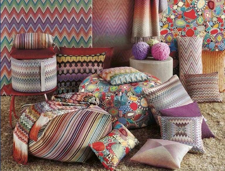 Contemporary MissoniHome Masuleh PW Cushion in Multicolor Chevron Print For Sale