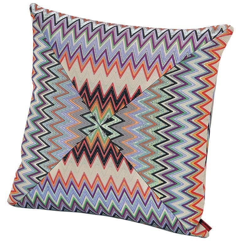 MissoniHome Masuleh PW Cushion in Multicolor Chevron Print For Sale