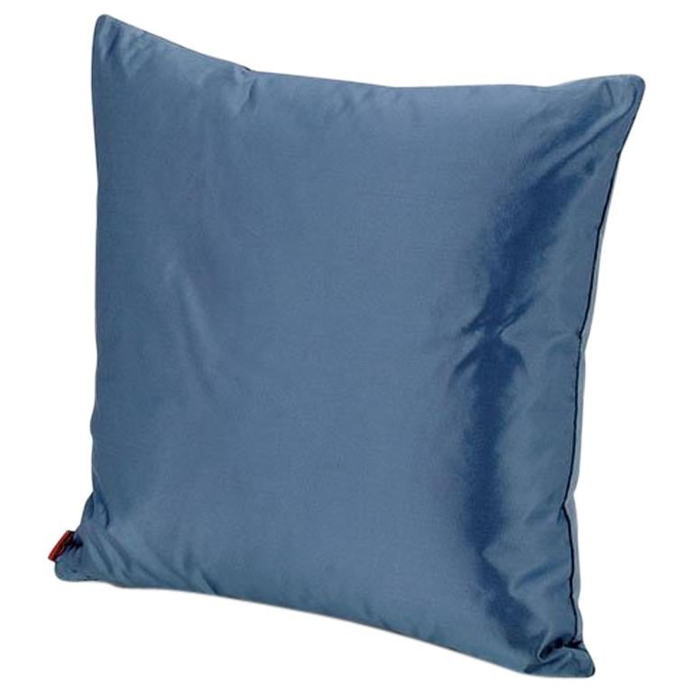MissoniHome Mono Cushion in Solid Blue Cotton and Silk For Sale