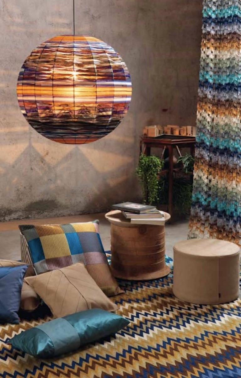 Modern MissoniHome Mono PW Cushion in Purple Cotton and Silk For Sale