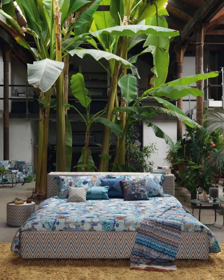 Italian MissoniHome Mono PW Cushion in Purple Cotton and Silk For Sale
