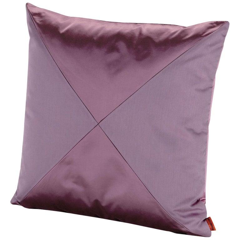 MissoniHome Mono PW Cushion in Purple Cotton and Silk For Sale