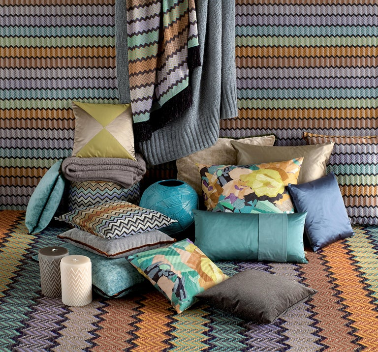 Modern MissoniHome Mono Reversible Patchwork Cushion in Jewel Tones For Sale
