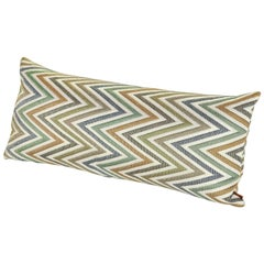 MissoniHome Nesterov Cushion in Multi-Color Green Chevron Print