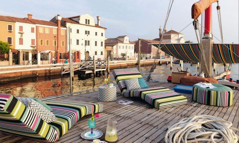 Italian MissoniHome Nossen Cushion with Chevron Print in Black & White For Sale