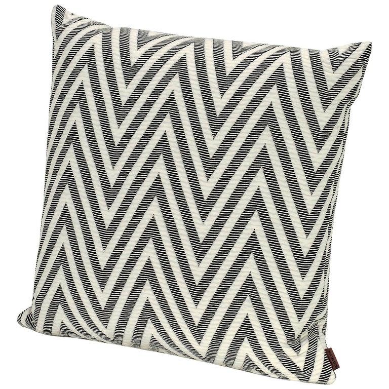 MissoniHome Nossen Cushion with Chevron Print in Black & White For Sale
