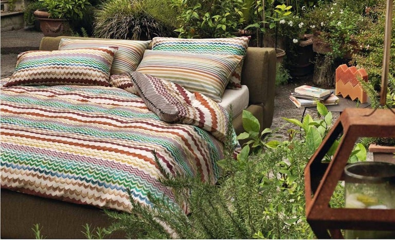 Italian MissoniHome Oleg PW Cushion Set with Blue and Gold Gradient For Sale