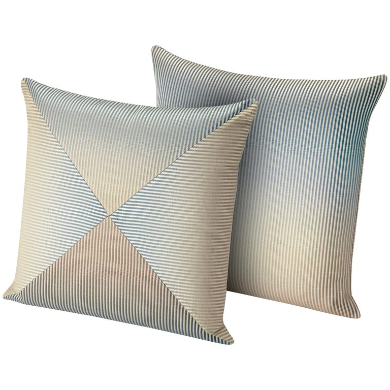 MissoniHome Oleg PW Cushion Set with Blue and Gold Gradient For Sale