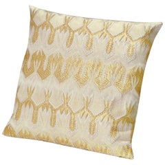 MissoniHome Ormond Gold Cushion with Gold Lace-Inspired Print