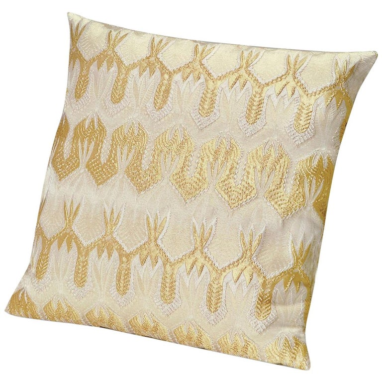MissoniHome Ormond Gold Cushion with Gold Lace-Inspired Print For Sale