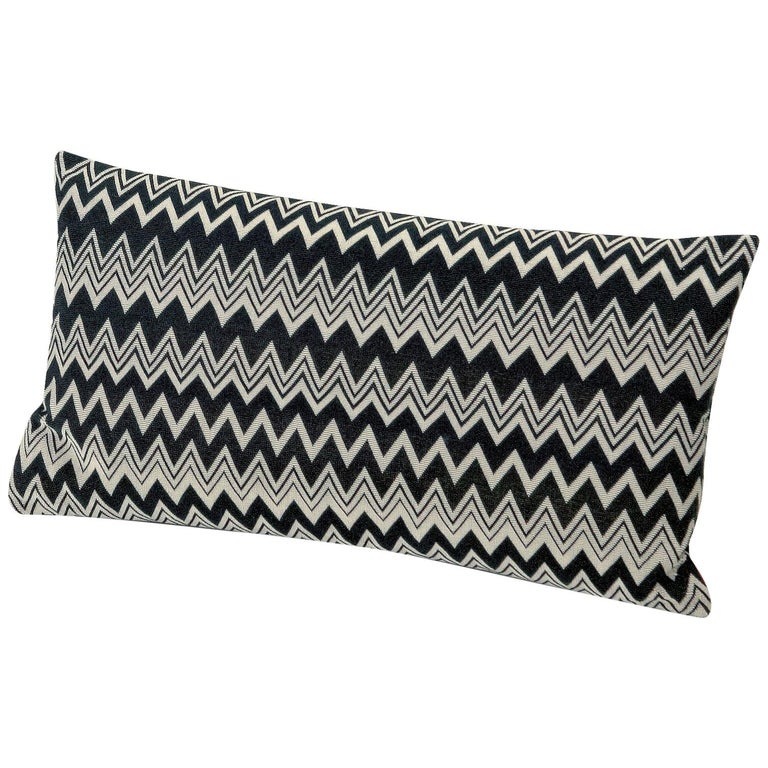 MissoniHome Orvault Cushion in Black and White Chevron Print For Sale