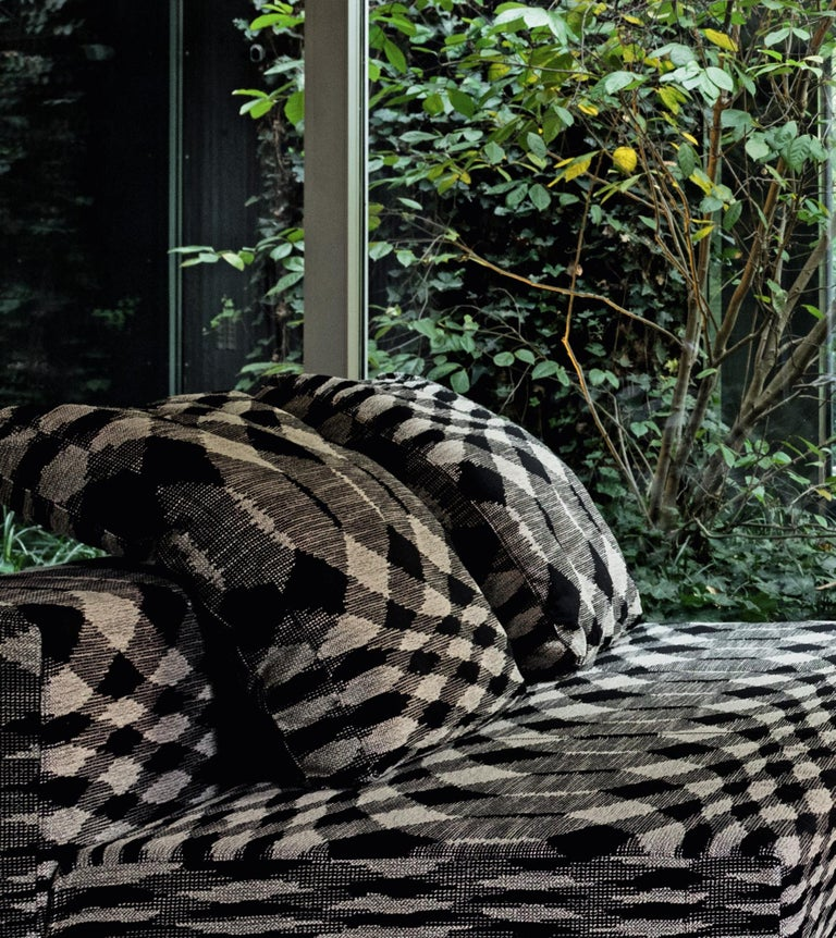 Modern MissoniHome Patch Cushion with Black & White Flame Stitch Print For Sale
