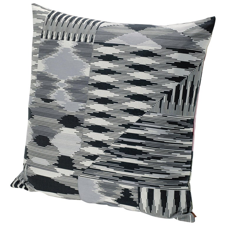 MissoniHome Patch Cushion with Black & White Flame Stitch Print For Sale
