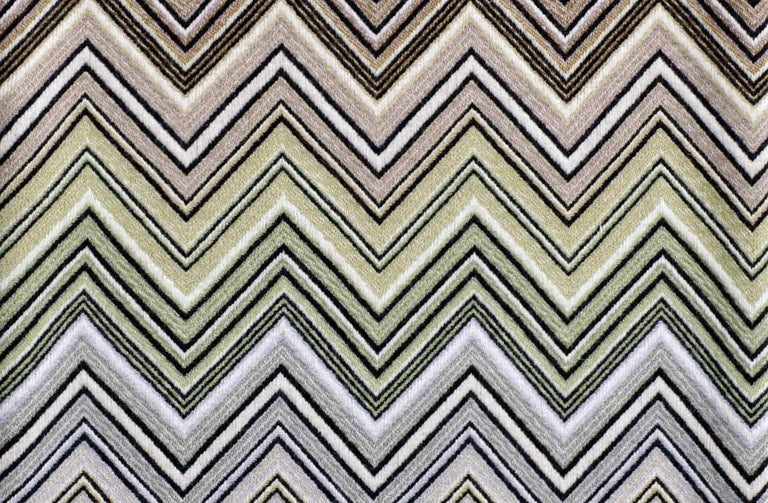 Modern Missoni Home Perseo Throw in Multicolor Chevron Print with Black Fringe Trim For Sale