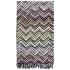 Missoni Home Perseo Throw in Multicolor Chevron Print with Black Fringe Trim