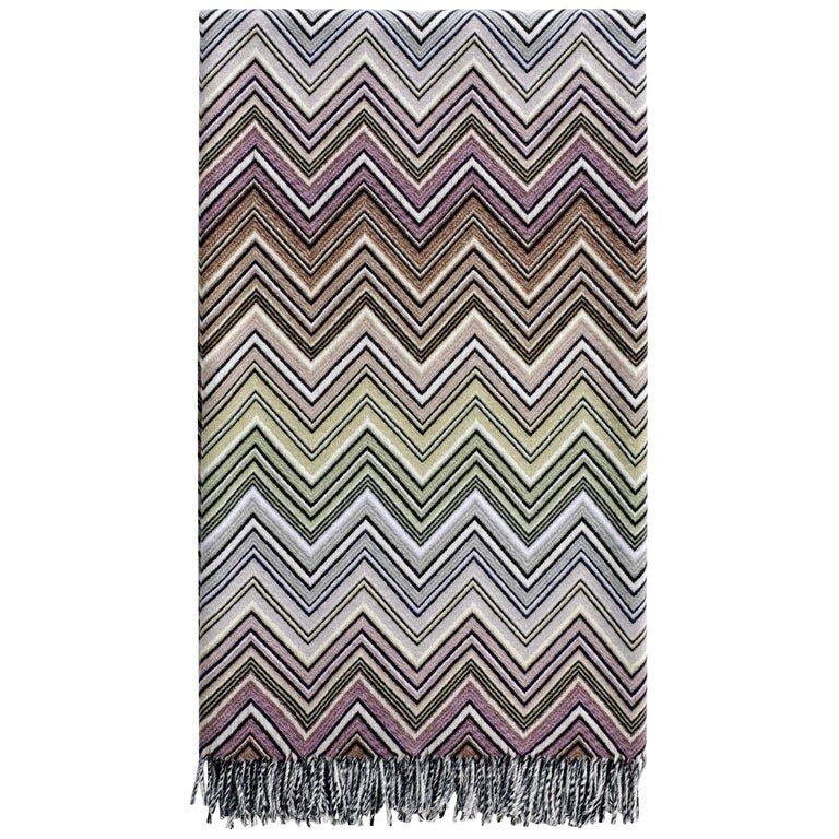 Missoni Home Perseo Throw in Multicolor Chevron Print with Black Fringe Trim For Sale