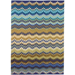 MissoniHome Piccardia Wool Rug in Blue & Camel Chevron Print