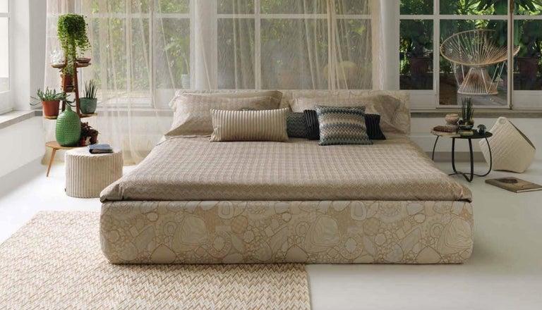 Italian MissoniHome Plaisir Cushion in Gray and Green Chevron Print For Sale